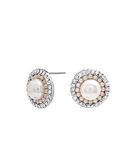 Silver Plated Pearl Large Stud Earrings