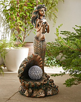 Mermaid Garden Ornament with LED Pearl