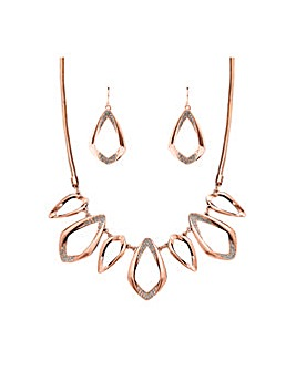 Rose Gold Plated Pave Open Set