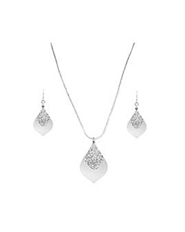 Silver Plated Crystal Pear Shape Set
