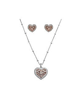 Two Tone Filagree Heart Set- Gift Boxed