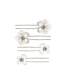 Silver Plated White Flower Hair Pins