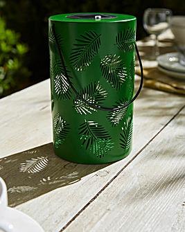 Solar Palm Leaf Silhouette Lantern
