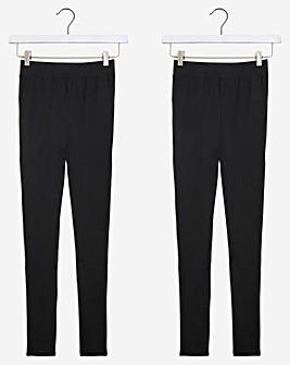 2 Pack Cotton High Waist Full Length Leggings
