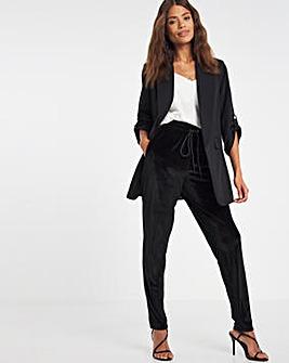 Black Velour Tapered Trouser