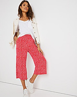 Red Print Stretch Jersey Culottes