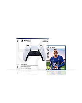 FIFA 22 PS5 and White PS5 Controller
