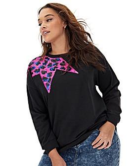 Pink Sequin Embellished Motif Sweatshirt