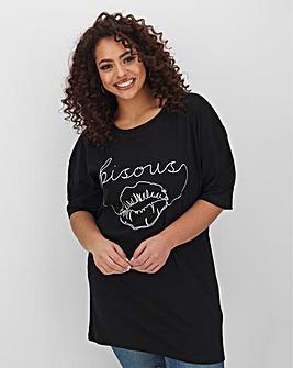 Bisous Lip Print Slogan Tunic