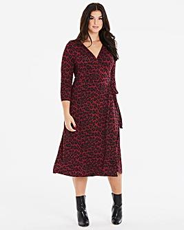 Oasis Curve Jersey Animal Wrap Dress