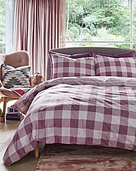 Ava Pink Gingham Check Duvet Cover Set