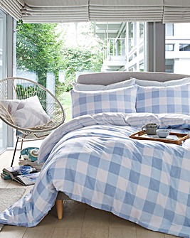 Ava Blue Gingham Check Duvet Cover Set