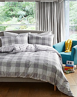 Ava Grey Gingham Check Duvet Cover Set