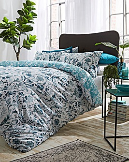 Clara Damask Teal Duvet Cover Set
