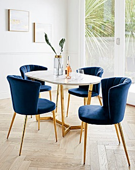 Florence Oval Dining Table with 4 Clarice Dining Chairs