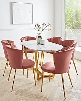 Florence Oval Dining Table with 6 Clarice Dining Chairs