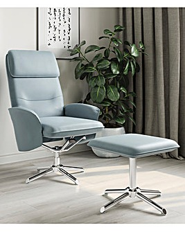 Kennedy Faux Leather Recliner Chair & Footstool