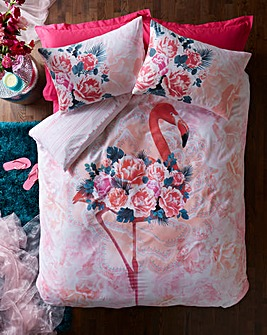 Flamingo Floral Duvet Cover Set
