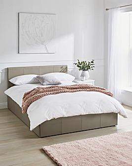 Hayden Ottoman Faux Leather Bed Frame with Silentnight Pocket Mattress