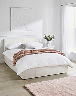Hayden Ottoman Faux Leather Bed Frame with Silentnight Pocket Mattress