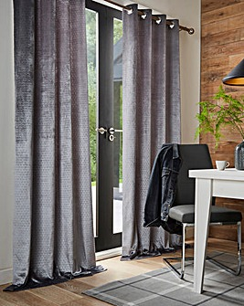 Embossed Geo Lined Eyelet Curtains
