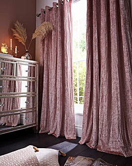 Crinkle Velvet Blackout Lined Eyelet Curtains