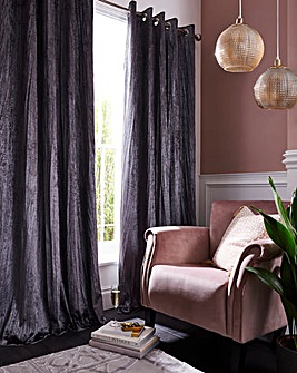 Crinkle Velvet Blackout Lined Curtains