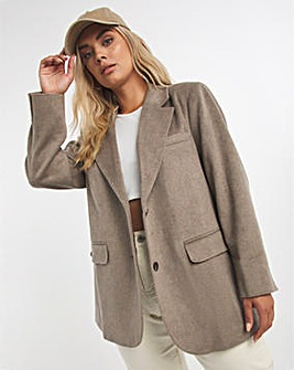 Stone Relaxed Fit Wool Look Blazer