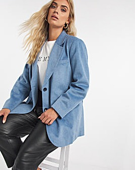 Smokey Blue Relaxed Fit Wool Look Blazer