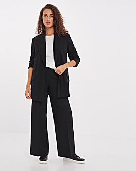 Black Crepe Wide Leg Trousers