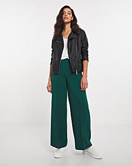 Dark Green Crepe Wide Leg Trousers