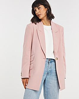 Blush Oversized Blazer with Asymmetric Cuffs