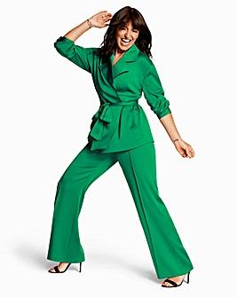 Green Satin Back Tie Waist Utility Jacket