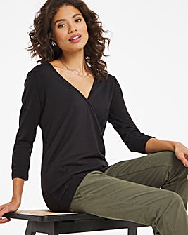 Knit Look Wrap Top