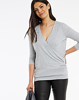 Grey Marl Knit Look Wrap Top