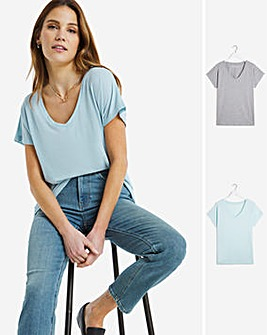 2 Pack Slouchy V-Neck T-Shirt