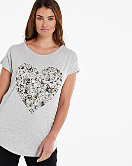 Butterfly Heart Print T-Shirt