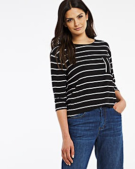 L/S Stripe Pocket Top