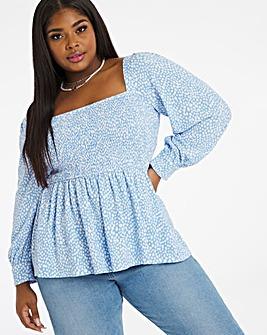 Blue Spot Shirred Long Sleeve Top