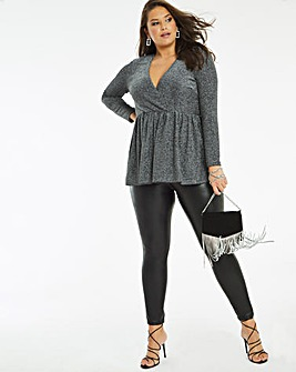 Pewter Glitter Long Sleeve Wrap Tunic Top