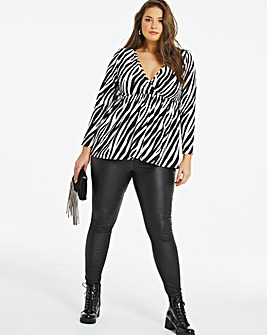 Zebra Print Long Sleeve Wrap Front Tunic