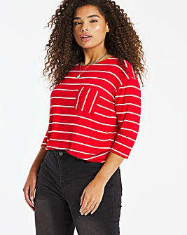 L/S Stripe Pocket Detail Top