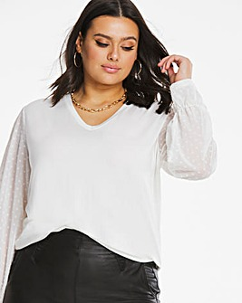 V-Neck Mesh Sleeve Top
