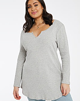 Notch Front Long Sleeve Ribbed Tunic