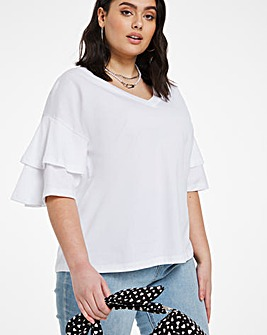 White Oversized Frill Top