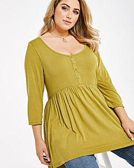 Olive 3/4 Sleeve Button Down Tunic