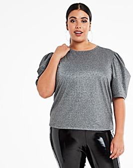 Silver Lurex Puff Sleeve Top