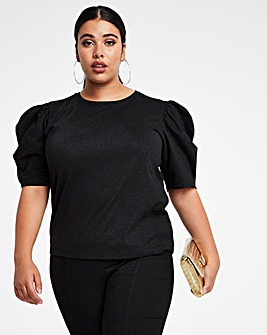 Black Lurex Puff Sleeve Top