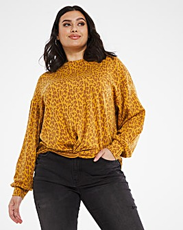 Animal Print Twist Front Top