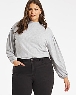Grey Marl High Neck Balloon Sleeve Top